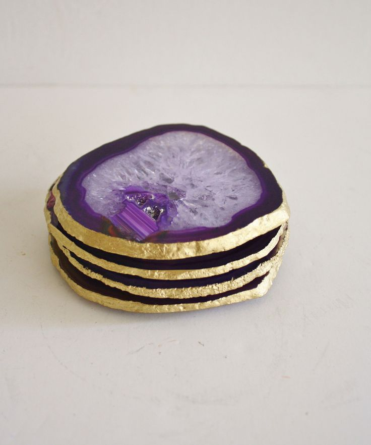 "Set of 4 ""Amethyst"" Agate Coasters with Gold Leaf Edge"