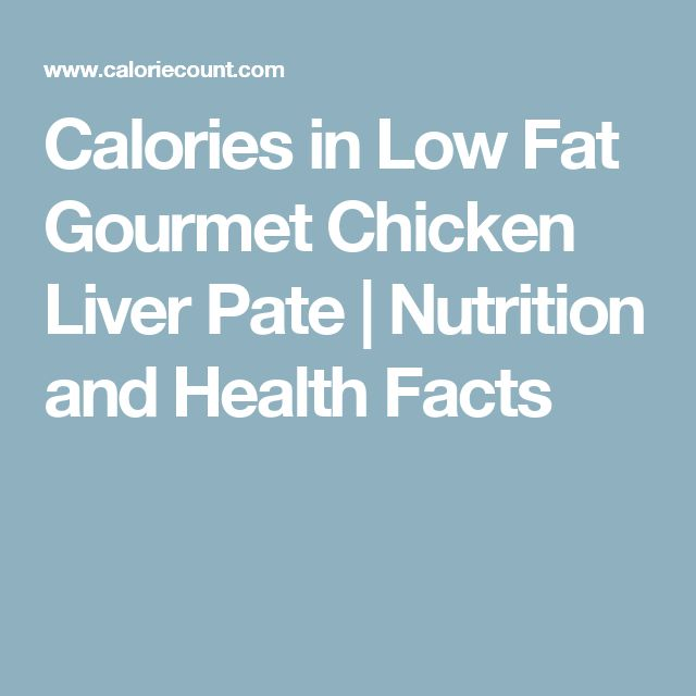 Calories in Low Fat Gourmet Chicken Liver Pate | Nutrition and Health Facts