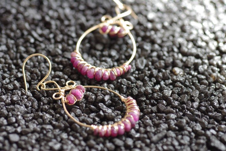 Gold Ruby Earrings, Gold Gypsy Earrings Tear Drop Earrings Hand Cut Rubies July Birthstone Earrings 14K Gold Filled Berry Red Rubies by BaileyBespoke on Etsy