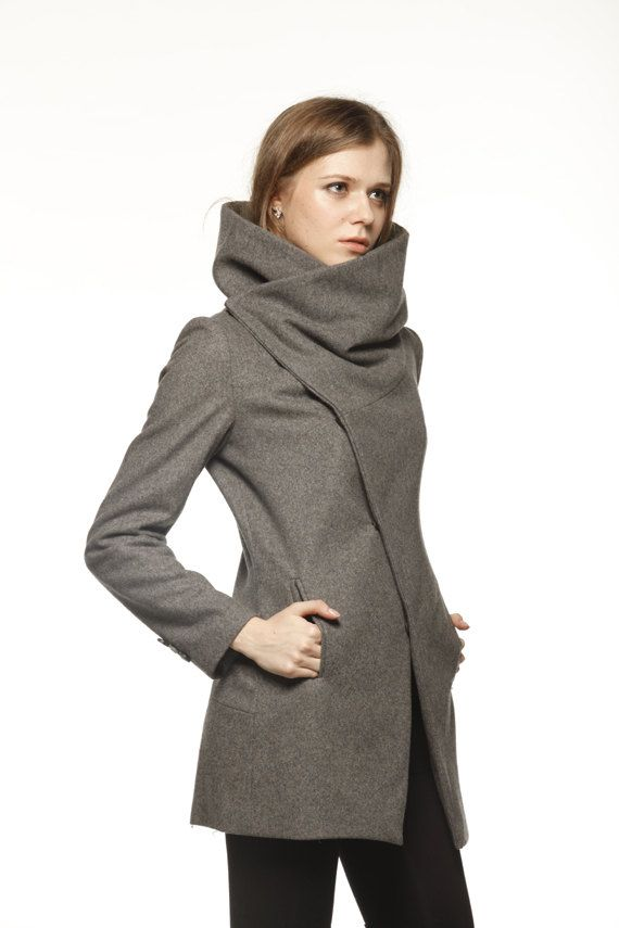 Dark Grey Fitted Cashmere High Collar Jacket Winter Woolen Women Coat - Custom Made - NC493