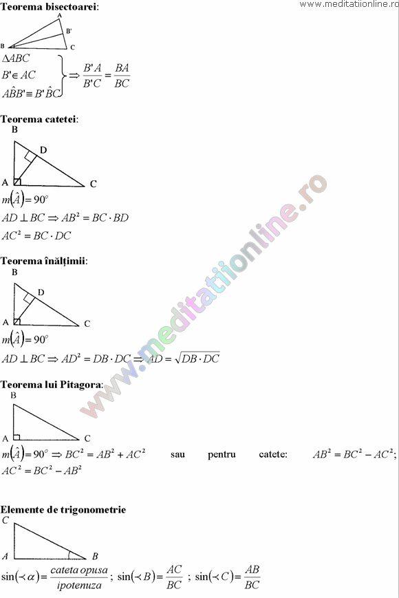 Formule matematica gimnaziu 5 8 Formule si teorie Geometrie plana si in spatiu si Trigonometrie pagina 7