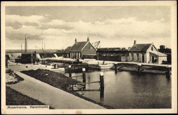 Ak Middelharnis Südholland, Havenhoofd, Hafen, Schleuse