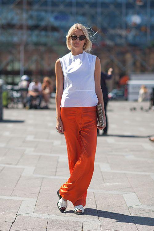 2 colores en tendencia esta temporada primavera verano 2013 2014 Blanco y Naranja Street Style Spring 2014: Copenhagen Fashion Week