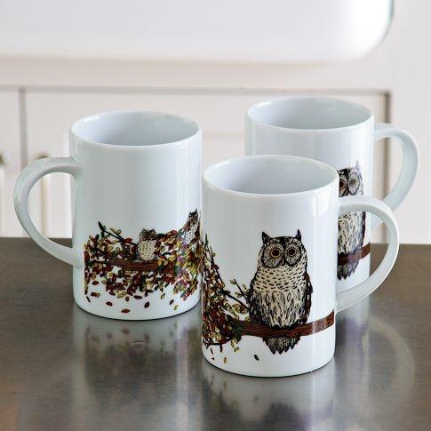 Owl Mug – Autumn Branch | west elmOwls Mugs, Owls Post, Kitchens Gottahav, 800 Owls, Porcelana Owls, House Stuff, Autumn Branches, Owls Stuff, West Elm