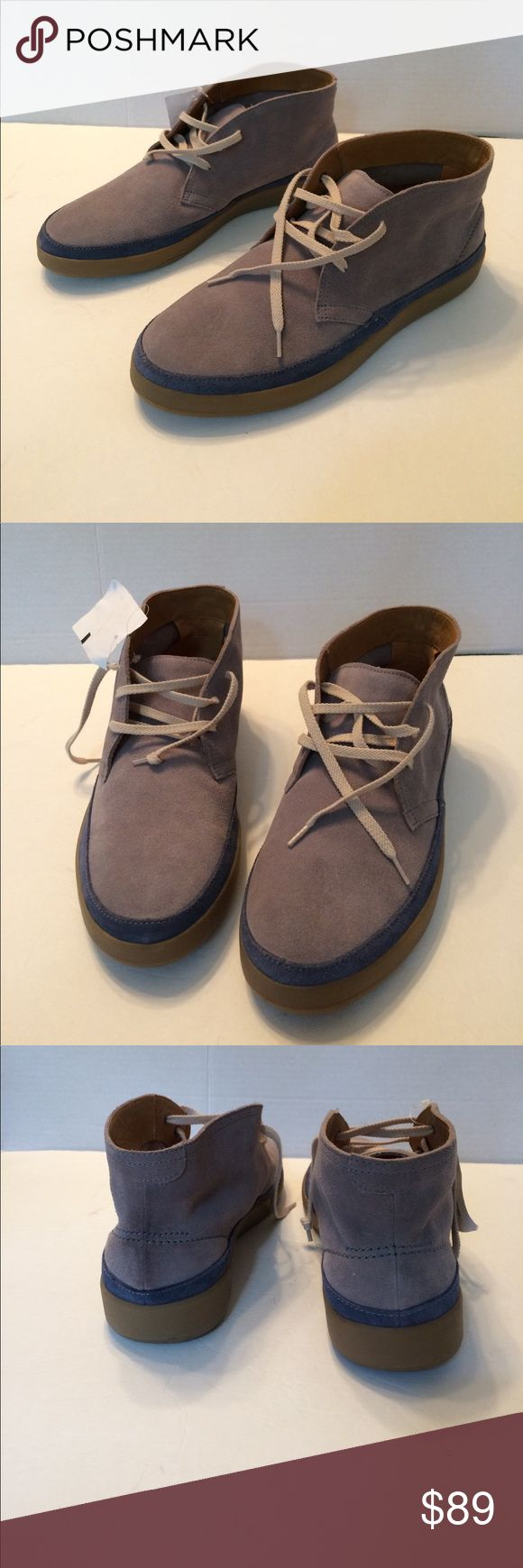 Cole Haan Men's gray Suede Chukka Boot Cool looking and great quality. Gray suede leather with blue trim around the soles. Leather lining and rubber soles. Three eyelet Lace up. New with dept. store tag and no box. Retails for $188.00 Cole Haan Shoes Chukka Boots