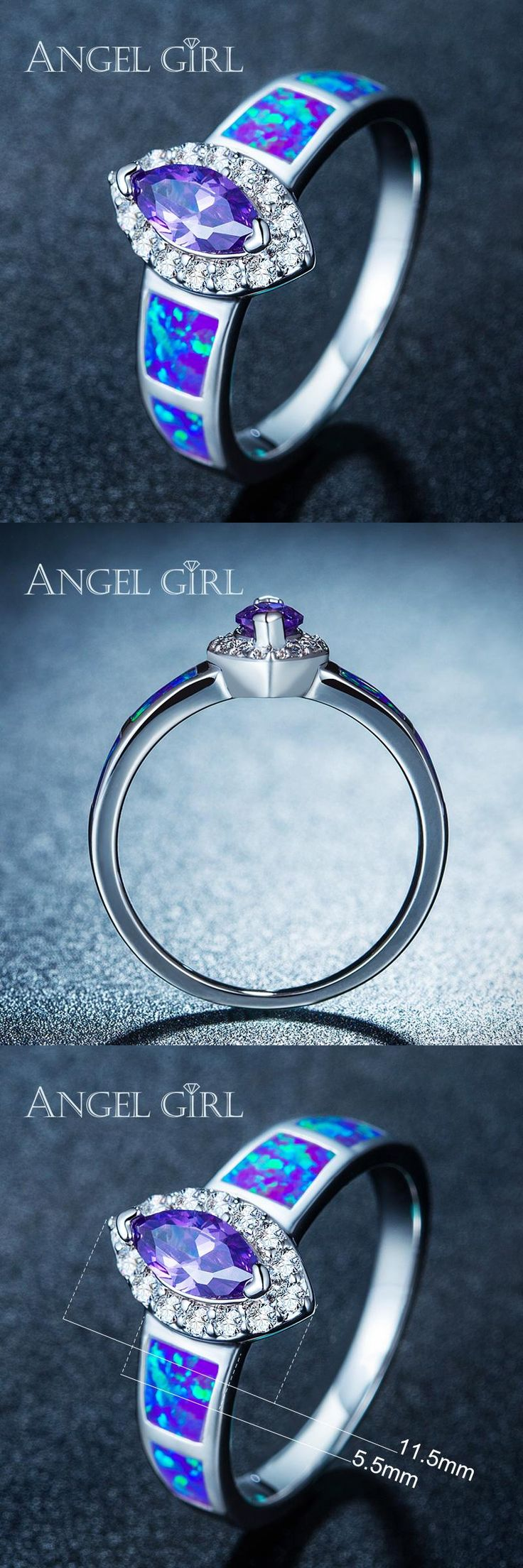 [Visit to Buy] Angel Girl Natural  Australia  Blue Opal Rings for women Jewelry cocktail party White Gold Color  Marquise Rings R67 #Advertisement