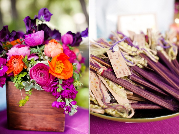 Vibrant pink, purple and orange palette and fragrant incense for guest favours