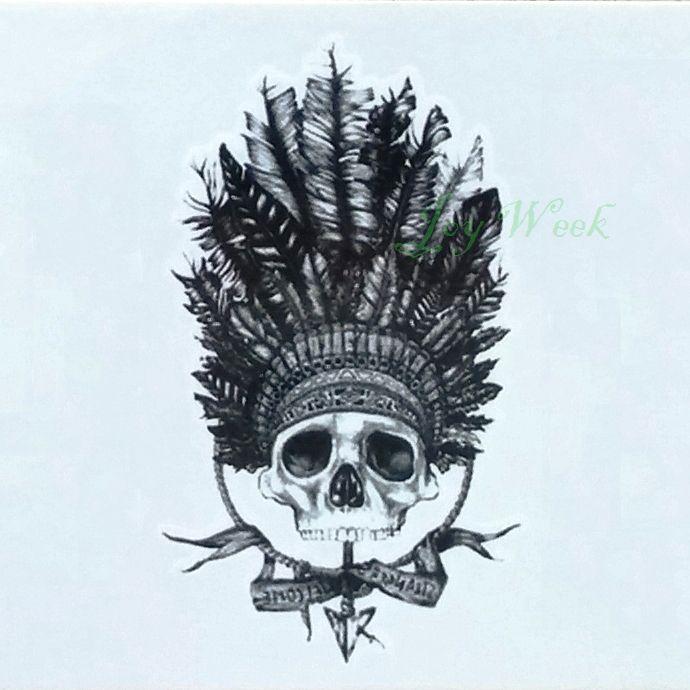 Waterproof Temporary Tattoo sticker tribal feather headdress Skull tattoo Water Transfer fake tattoo flash tattoo for men women