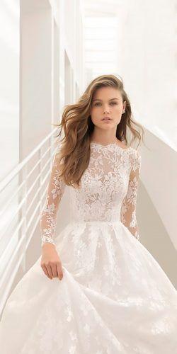 lace wedding dresses a line high neckline illusion long sleeves rosa clara