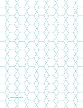 This letter-sized hexagon graph paper is spaced with hexagons and diamonds half an inch apart. Free to download and print