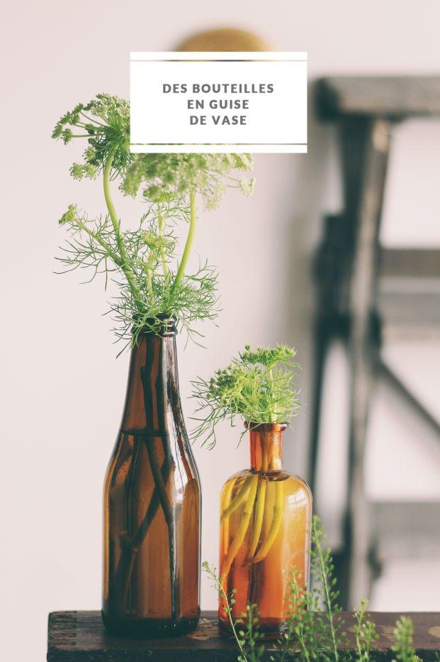 La mariee aux pieds nus - DiY - Des bouteilles en guise de vase