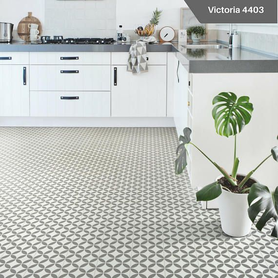 The Stunning Victoria 4403 Is A Grey And White Cushioned Vinyl Flooring In A Geometric Vintage Britis Vinyl Flooring Grey Vinyl Flooring Vinyl Flooring Kitchen