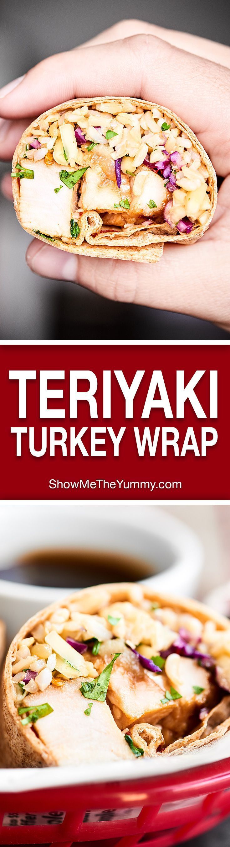A great use of leftovers, this Teriyaki Turkey Wrap is full of tender turkey, sweet pineapple, crunchy/salty/savory/fresh slaw, earthy brown rice, and a chewy whole wheat tortilla!