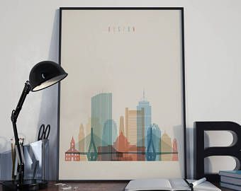 Boston Art Boston Watercolor Boston Multicolor Boston Wall Art Boston Wall  Decor Boston Home Decor Boston