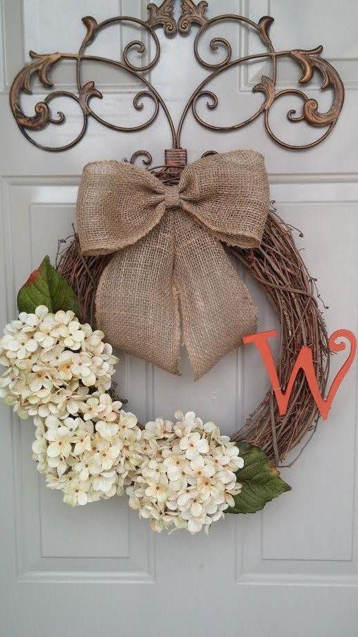 Spring Wreath, Summer Wreath, Year Round Wreath, Hydrangea Wreath, Door Wreath, Monogrammed Wreath
