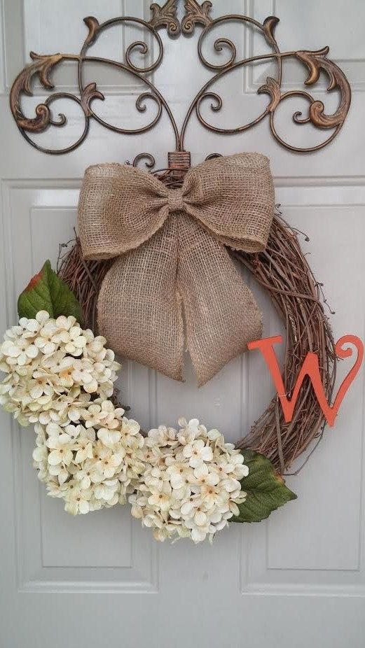 Spring Wreath, Summer Wreath, Year Round Wreath, Hydrangea Wreath, Door Wreath, Monogrammed Wreath
