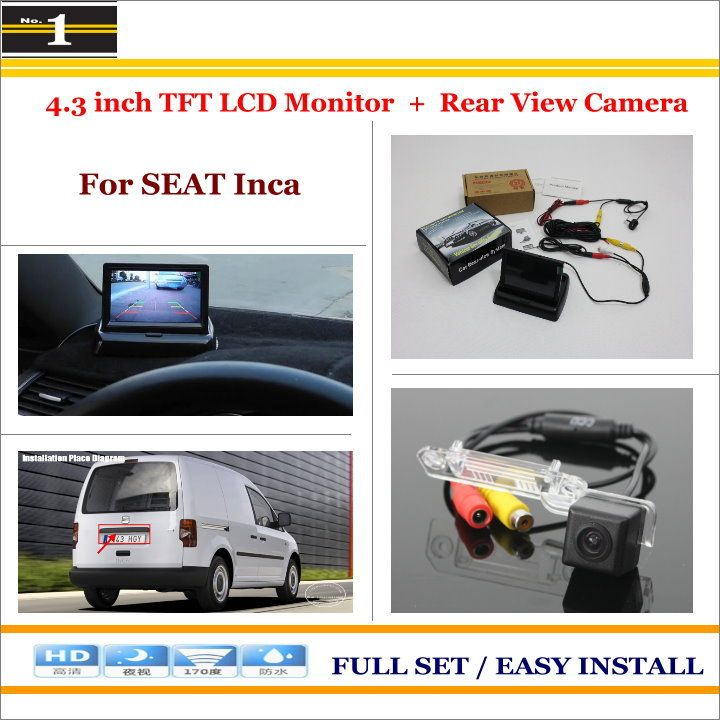 "For SEAT Inca - Car Reverse Backup Rear Camera + 4.3"" TFT LCD Screen Monitor = 2 in 1 Rearview Parking System"