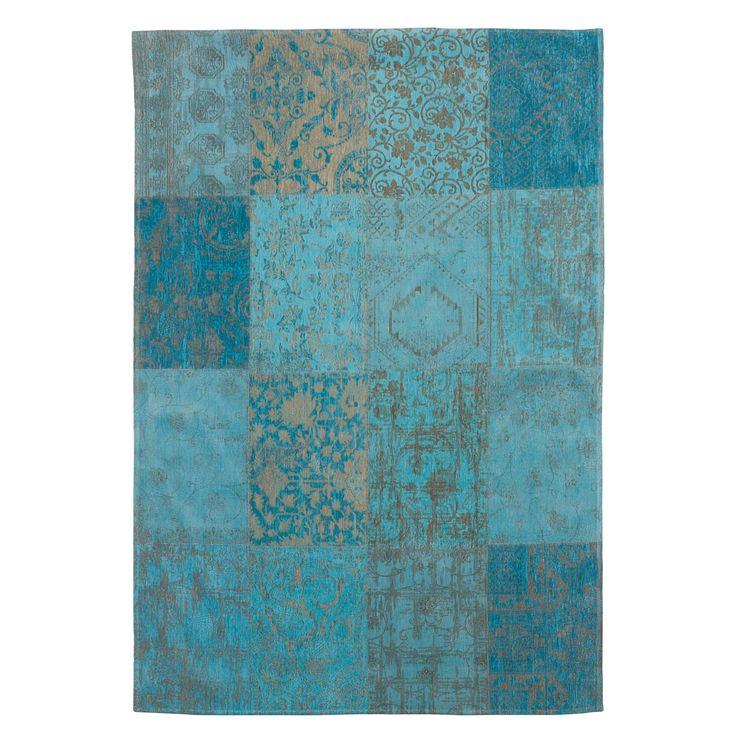 VAN 475,- VOOR 357,- Vloerkleed Vincentia met sfeervolle prints en patchwork optiek. Afmeting: 200x280 cm (bxl). Kleur: azuur. #kwantum #nuofnooit
