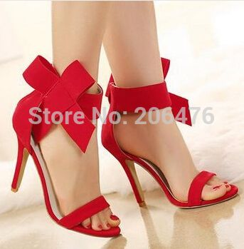 POPULAR Size 35-40 2016 New Sexy High Heel Open Toe Women Sandals Bowtie Ladies Shoes 11cm Thin Heel Shoes Pumps 4 colors