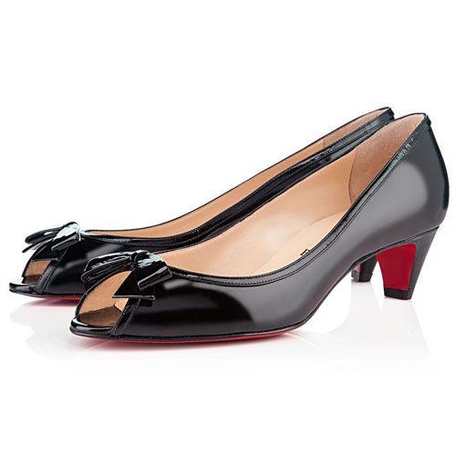 Christian Louboutin Milady Peep Toe Pumps Patent Leather Black