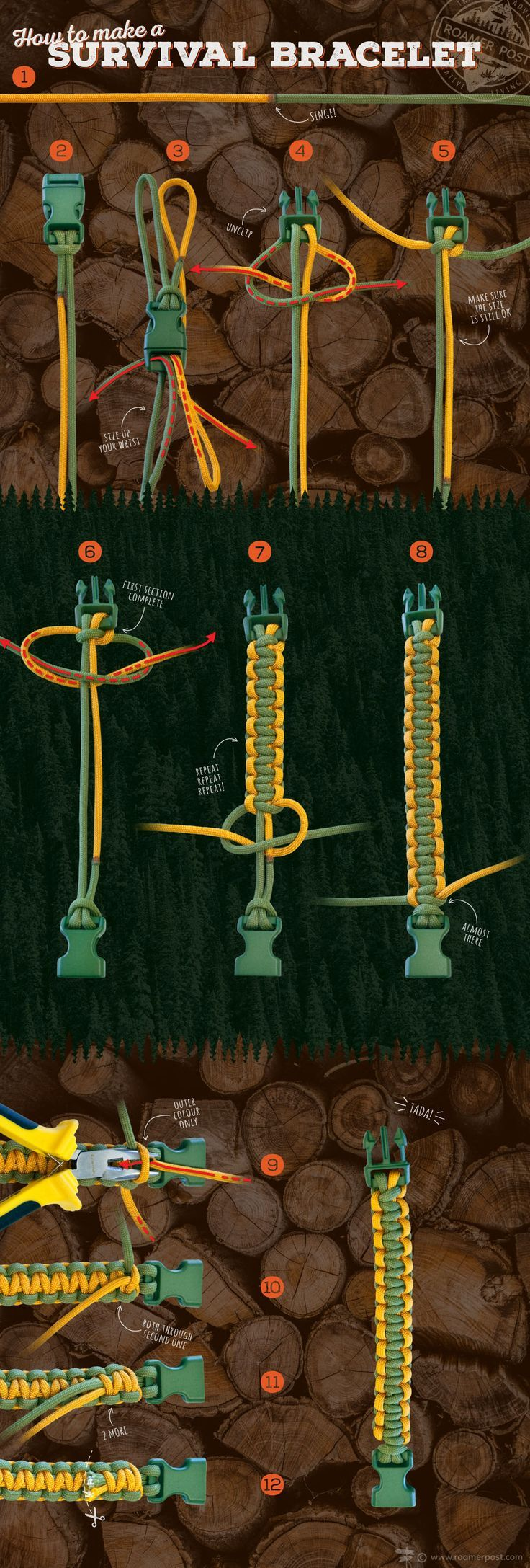 How to tie a survival bracelet - a step by step infographic tutorial to help you knot your way to one of the most useful DIY adventure accessories.