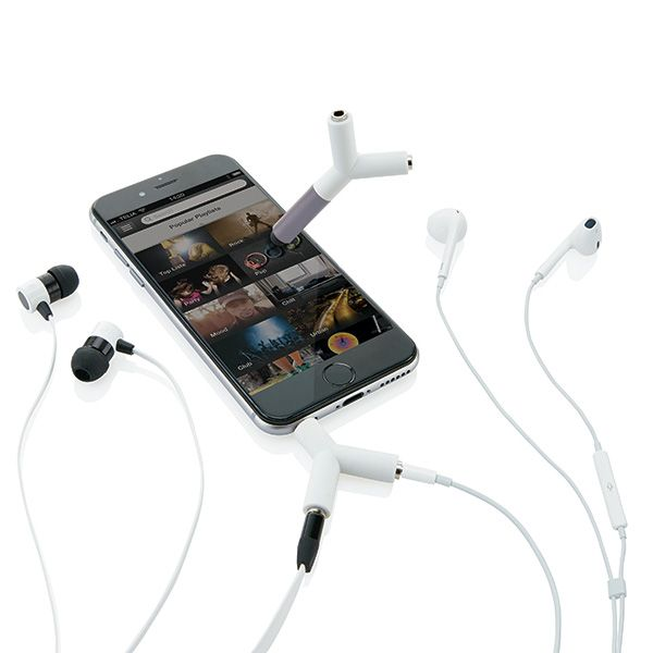 Universal ABS 3.5mm audio splitter that allows two people to listen to the same music at the same time with their own set of ear buds. The splitter has a touch pen suitable for all mobile devices to navigate on your screen.