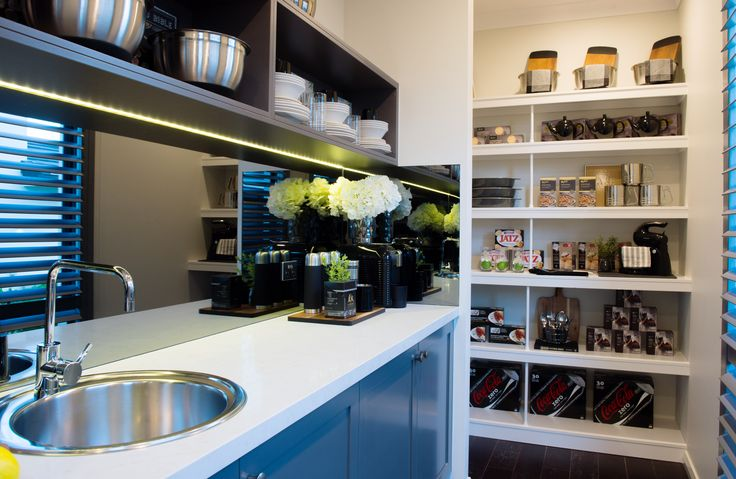 The Tallavera 45 offers a luxurious Butler's Pantry with ample storage space to prepare for every family gathering. Visit the Two-Storey Tallavera at Rochedale, QLD.  #butlerspantry #butlerspantryideas #butlerspantryideaslayout #butlerspantriesmodern #kitchen #gourmetkitchen #storage #kitchenstorage #style #interiordesign #home #newhome  #displayhome #displayhomes #mcdonaldjoneshomes