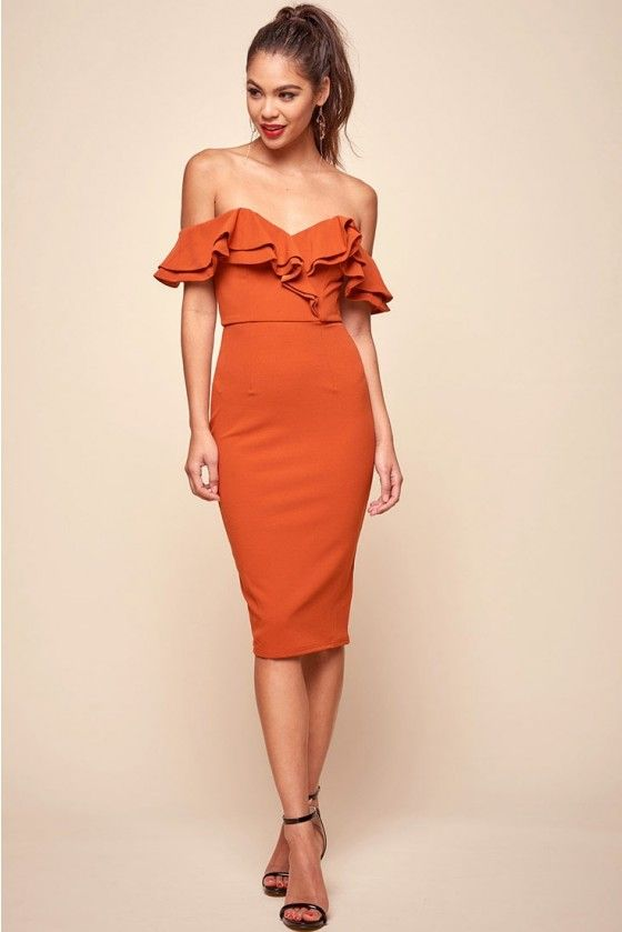 973c2dcb69 Rossi Ruffled Off the Shoulder Bodycon Dress Rust in 2019