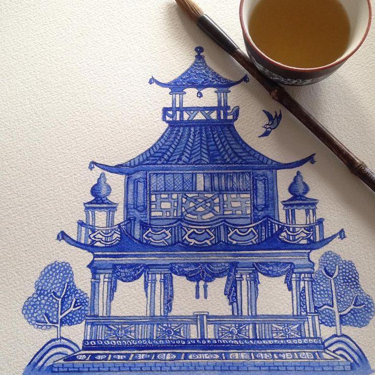 #Chinese pagoda #blueandwhite #chinoiserie #sproutgallery  Chinoiserie pagoda