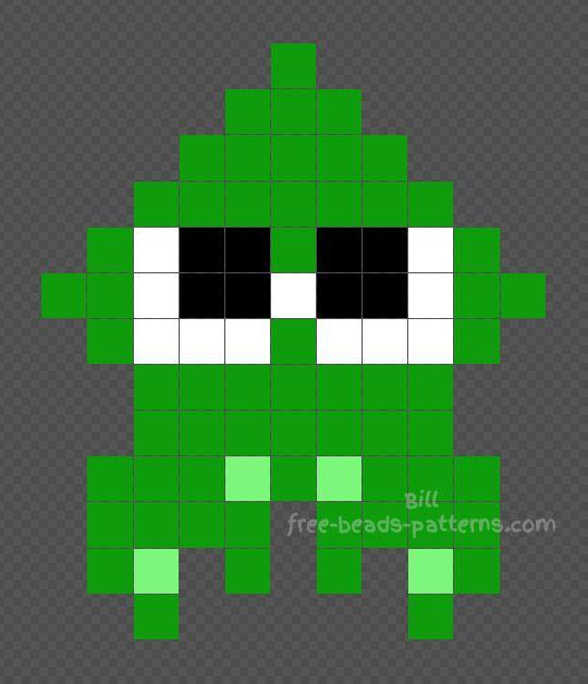 Splatoon green squid Hama Beads Perler beads 11x13