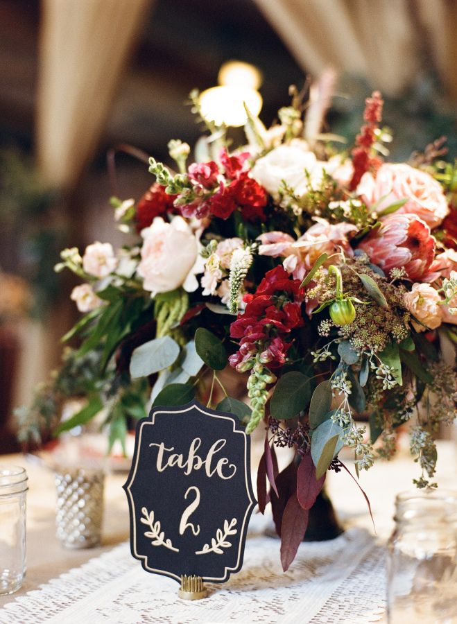 Rustic fall table decor: http://www.stylemepretty.com/little-black-book-blog/2016/02/08/ethereal-autumn-wedding-at-vista-west-ranch/ | Photography: Mint Photography - http://mymintphotography.com/