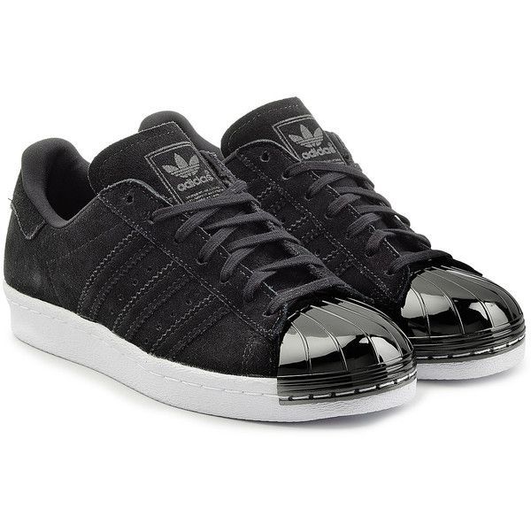 Adidas Originals Suede Superstar Sneakers found on Polyvore featuring shoes, sneakers, adidas, sapatos, black, black sneakers, black cap toe shoes, polish shoes, black lace up sneakers and suede sneakers