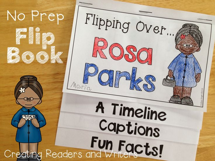 A NO PREP Flip Book about Rosa Parks: This project includes a timeline, factual captions, and fun facts about the life of Mrs. Parks. $