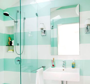 Love This Bathroom The Stripes And The Blue Green Tiffany Blue Color