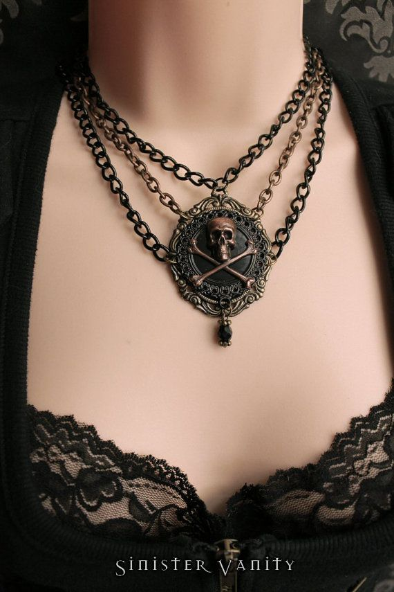 Gothic Skull Crossbones Necklace Steampunk by SinisterVanity, $45.00