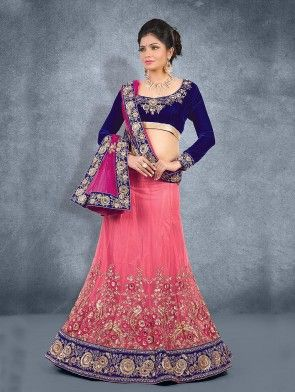Light Pink Net Lehenga Choli with Embroidery Work
