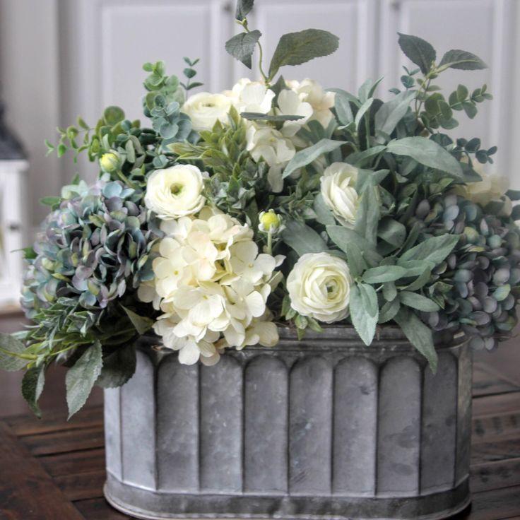 Beautiful blue and creamy white hydrangea centerpiece