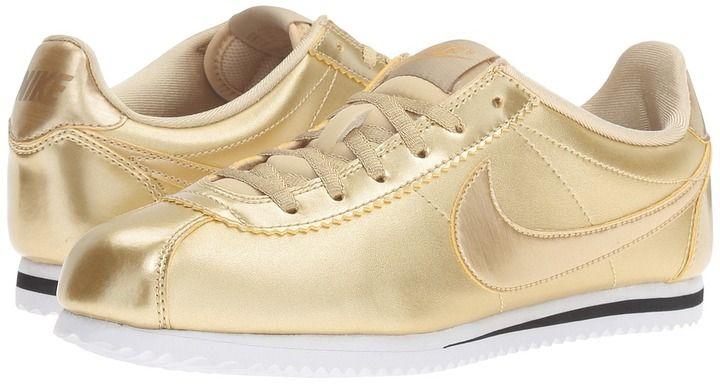 Nike Kids Cortez SE Girls Shoes $65 At Zappos http://Shopstyle.it/l/dEsh Nike Metallic Gold Lace up closure fabric lining