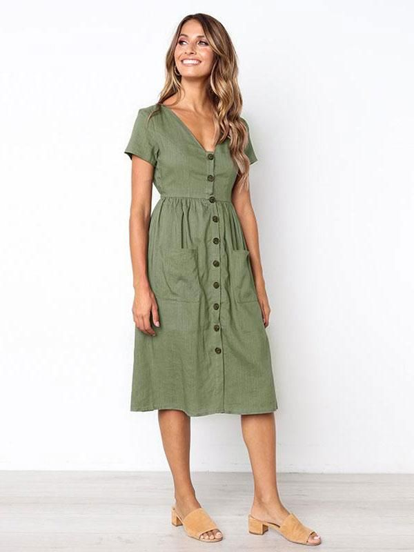 fa9c903ac16c 6 Colors V-neck Button Pocket Patched Short Sleeves Midi Dress | Style | Midi  shirt dress, Button dress, Shirt dress