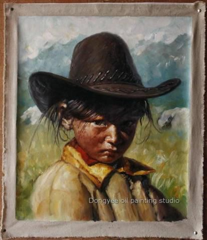 51x61cm Fine art Tibetan shepherdess preety girl Original Oil Painting on canvas