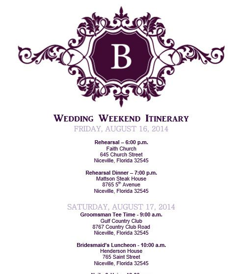25 best ideas about Wedding Itinerary Template – Itinerary Template