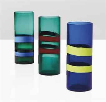 Fulvio Bianconi (1915-1996).  A Fasce Orizzontali, vases, 60s.