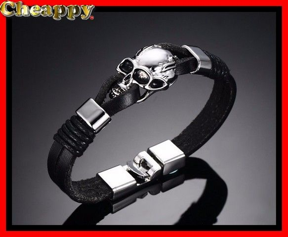 Mooie Skull / Schedel armband leer - Cheappy