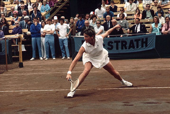 Outfits became shorter and tighter in the 70s, as seen on Australian player Margaret Court in 1971