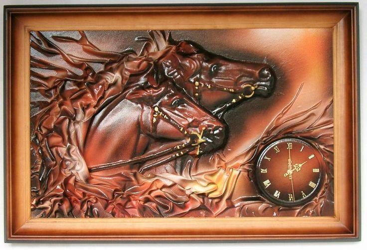 Obraz,zegar scienny ze sk�ry,KONIE,KO�, na prezent