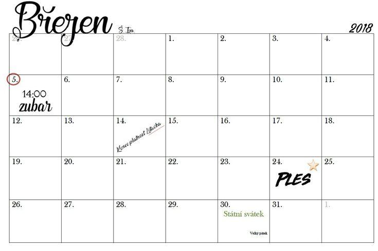 Planning calendar. Plánovací kalendář 2018.  kadahr.blogspot.cz