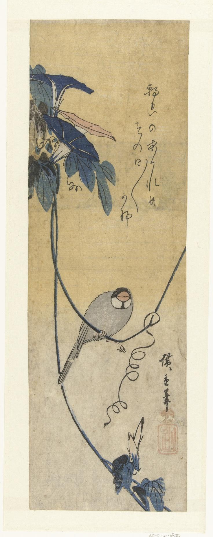 Vogel op tak van bloeiende blauwe winde, met haiku, tegen gele achtergrond.    Naar ontwerp van: Utagawa Hiroshige (I)  (1797 - 1858)