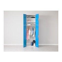 IKEA - STUVA, Comb arrumação c/portas, branco/azul, , Com profundidade suficiente para cabides normais.Portas com amortecedor para fecharem de modo suave e silencioso.Mantém-se estável mesmo em superfícies desniveladas graças aos pés reguláveis.