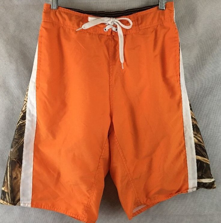Duck Commander Boardshorts Swim Trunks Full Mesh Lined Size M 32/34 Camo/Orange #DuckCommandeer #BoardShorts