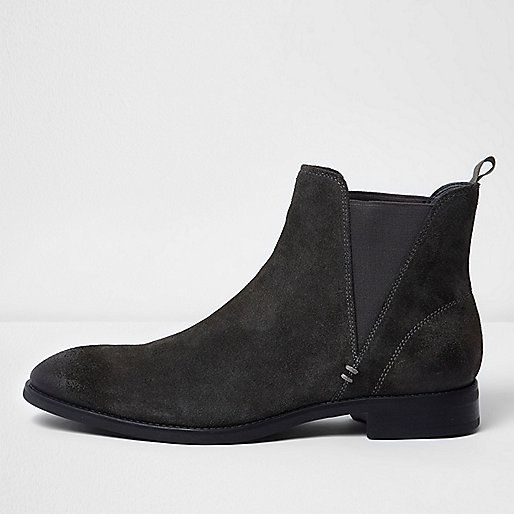 River Island Charcoal Grey Suede Chelsea